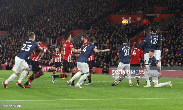 Cedric Soares of Southampton scores their 2nd goal from a freekick during the Premier League match between Southampton FC and Manchester United at St...