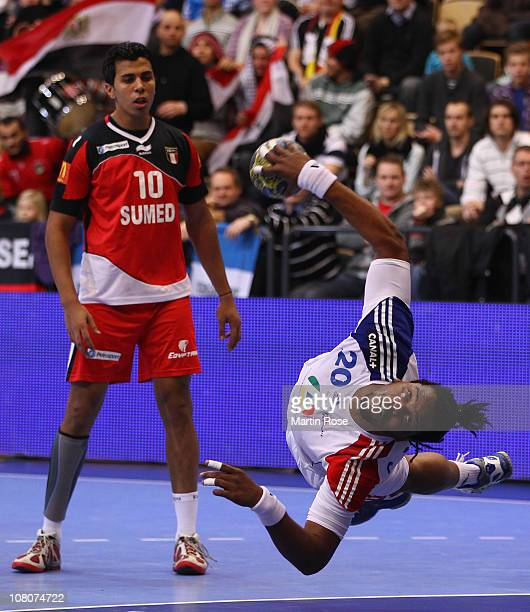 Cedric Sorhaindo of France throws at goal during the Men's Handball World Championship Group A match between Egypt and France at Kristiantad Arena on...
