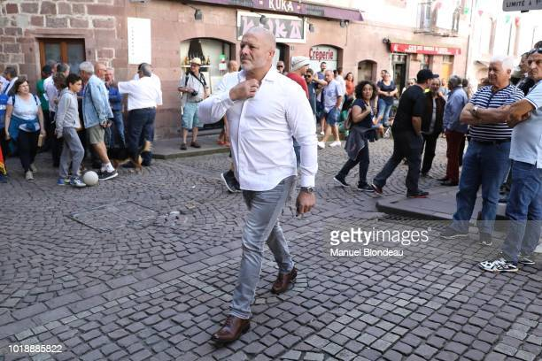 Cedric Soulette is seen at the burial of Pierre Camou in Saint Jean Pied de Port during the Funeral of former rugby player Pierre Camou on August 18...