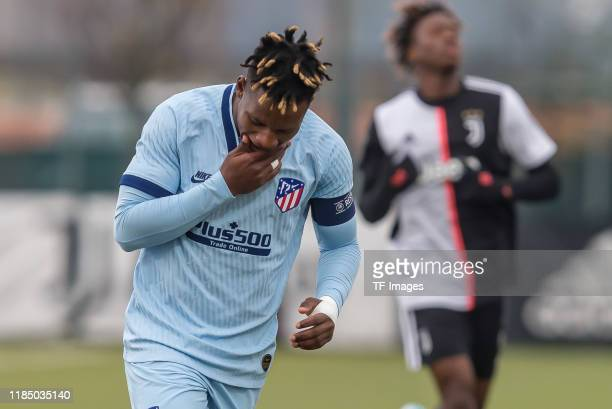 Cedric Teguia of Atletico Madrid gestures during the UEFA Youth League match between Juventus U19 and Atletico Madrid U19 on November 26 2019 in...
