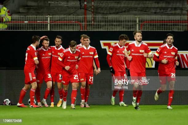 Cedric Teuchert of 1. FC Union Berlin celebrates his goal during the Bundesliga match between 1. FC Union Berlin and Bayer 04 Leverkusen at Stadion...