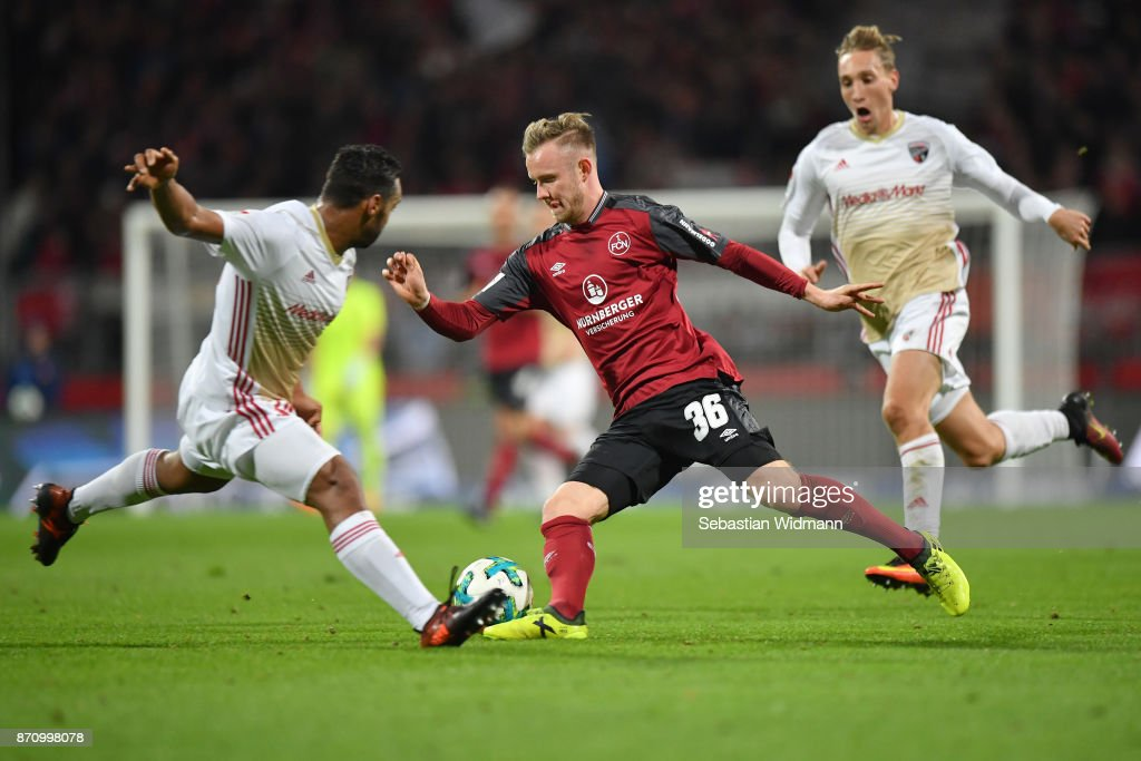 Cedric Teuchert of 1.FC Nuernberg plays the ball during the Second Bundesliga match between 1. FC Nuernberg and FC Ingolstadt 04 at Max-Morlock-Stadion on November 6, 2017 in Nuremberg, Germany.