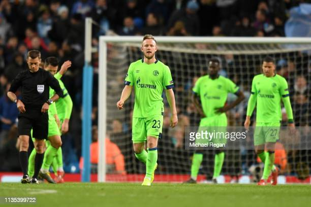 Cedric Teuchert of FC Schalke 04 reacts after Manchester City score their seventh goal during the UEFA Champions League Round of 16 Second Leg match...