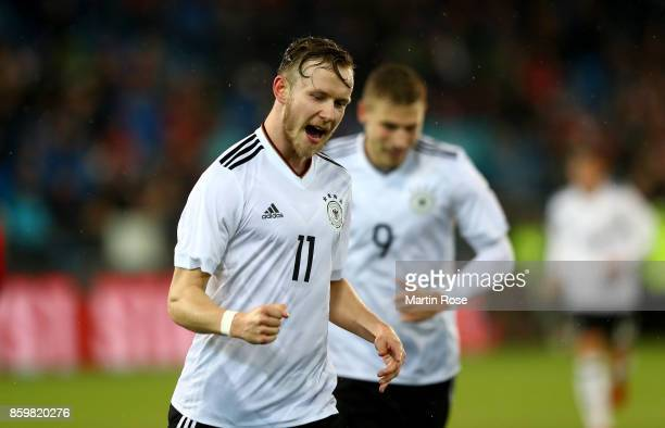 Cedric Teuchert of Germany celebrates after he scores the opening goal during the UEFA Under21 Euro 2019 Qualifier match between U21 of Norway and...