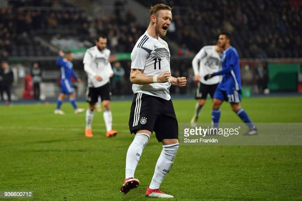 Cedric Teuchert of Germany celebrates his team's second goal during the 2019 UEFA Under21 European Championship qualifier match between U21 Germany...