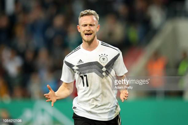 Cedric Teuchert of Germany celebrates scoring the opening goal during the 2019 UEFA Under 21 European Championship Qualifier between Germany U21 and...