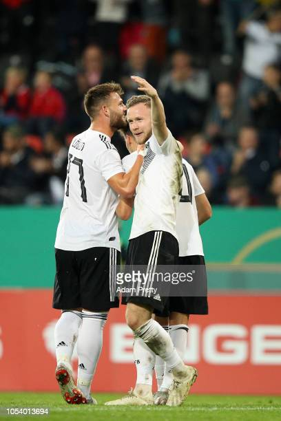 Cedric Teuchert of Germany congratulates Luca Waldschmidt on scoring the second goal during the 2019 UEFA Under 21 European Championship Qualifier...