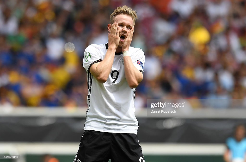Cedric Teuchert of Germany reacts during the UEFA Under19 European Championship match between U19 Germany and U19 Italy at Mercedes-Benz Arena on July 11, 2016 in Stuttgart, Germany.