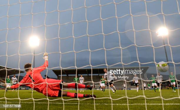Cedric Teuchert of Germany scores his sides fourth goal during the 2019 UEFA European Under21 Championship Qualifier between Republic of Ireland U21...