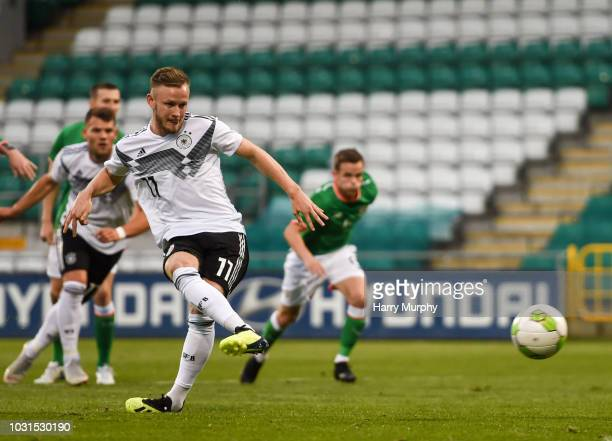 Cedric Teuchert of Germany scores his sides second goal during the 2019 UEFA European Under21 Championship Qualifier between Republic of Ireland U21...