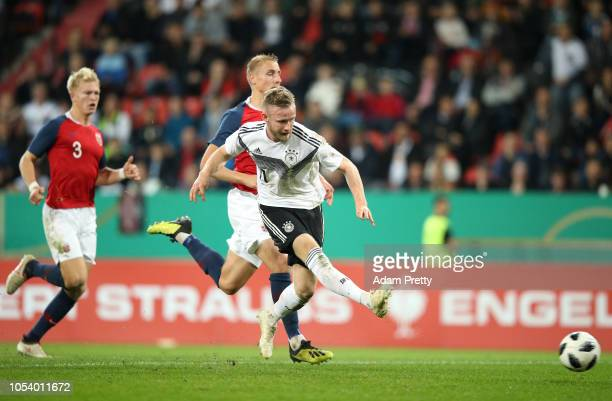 Cedric Teuchert of Germany scores the opening goal during the 2019 UEFA Under 21 European Championship Qualifier between Germany U21 and Norway U21...