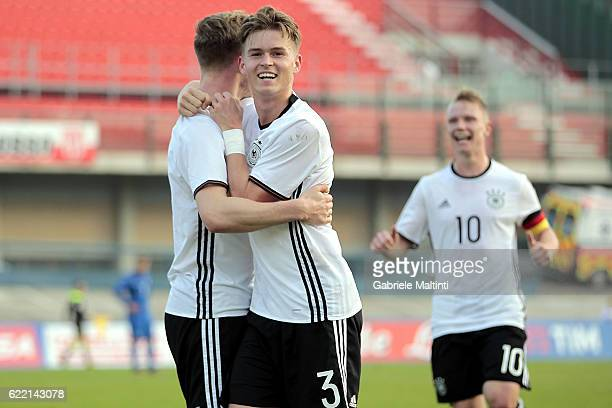 Cedric Teuchert of Germany U20 celebrates after scoring a goal during the Four Nations tournament match between Italy U20 and Germany U20 on November...