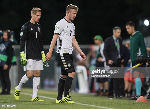Cedric Teuchert of Germany walks off the pitch after the UEFA Under19 European Championship match between U19 Germany and U19 Portugal at mechatronik...