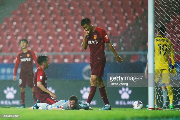 Cedric Teuchert of Schalke Celebrate his goal during the 2018 Clubs Super Cup match between FC Schalke 04 and China Fortune at Langfang Sports Center...