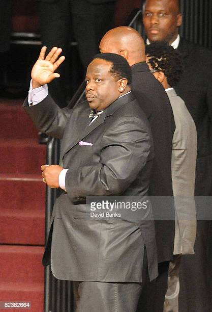 "Cedric "" The Entertainer"" attends a memorial service for Bernie Mac at the The House of Hope Church on August 16, 2008 in Chicago, Illinois."
