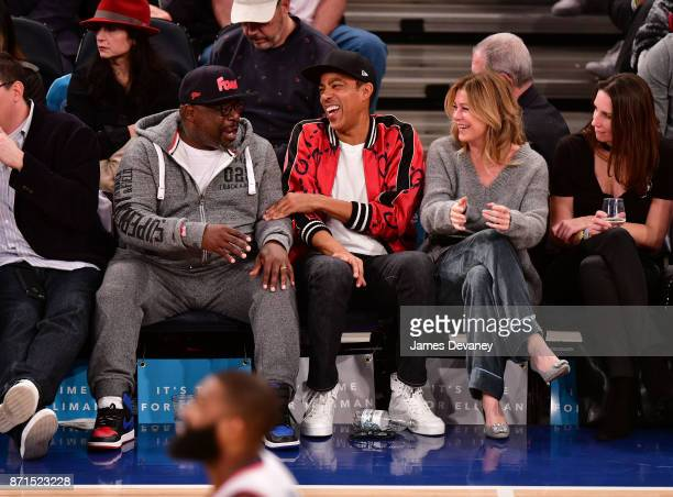 Cedric The Entertainer Chris Ivery and Ellen Pompeo attend the Charlotte Hornets Vs New York Knicks game at Madison Square Garden on November 7 2017...