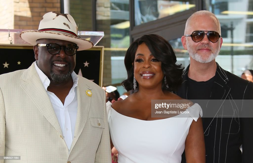 Cedric the Entertainer, Niecy Nash, and Ryan Murphy pose for a photo as Niecy Nash is honored with a star on the Hollywood Walk Of Fame on July 11, 2018 in Hollywood, California.