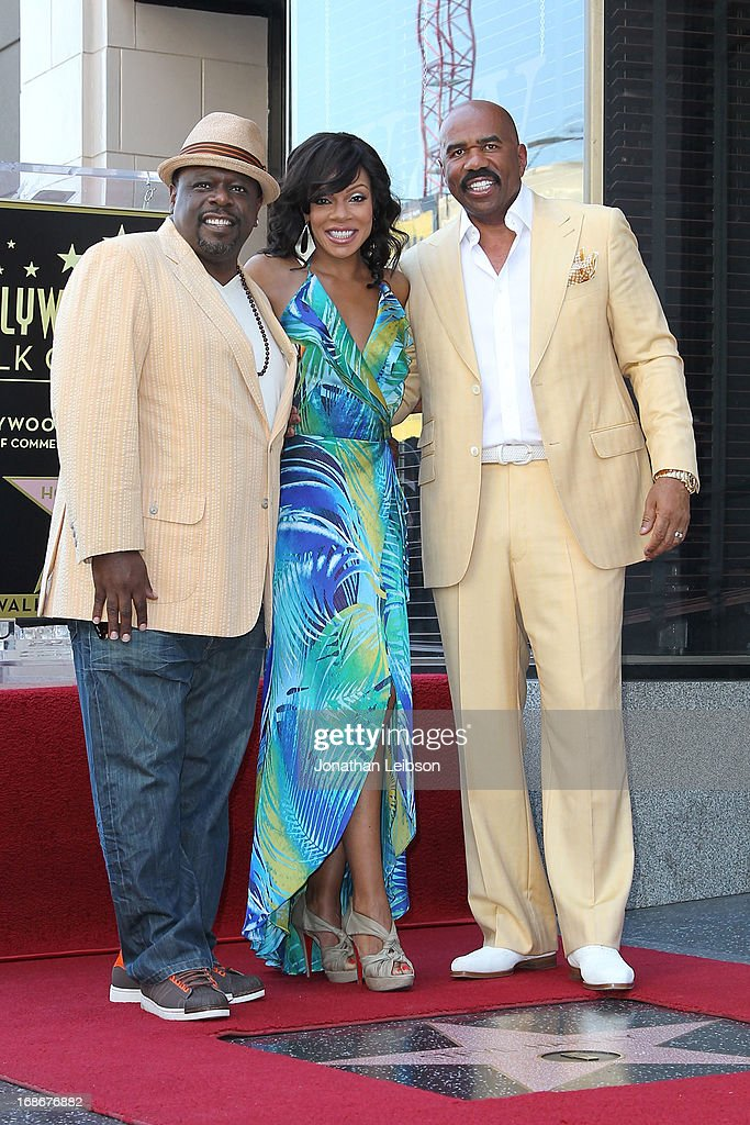 Cedric the Entertainer, Wendy Raquel Robinson and Steve Harvey attend the ceremony honoring Steve Harvey with a Star on The Hollywood Walk of Fame held on May 13, 2013 in Hollywood, California.