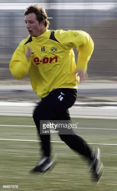 Cedric van der Gun runs during the Borussia Dortmund training session on January 24 2006 in Dortmund Germany