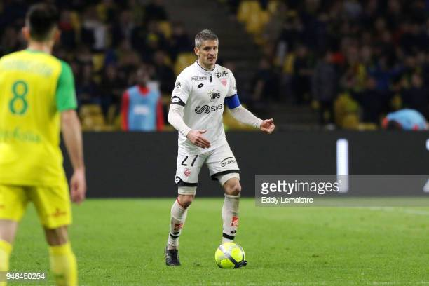 Cedric Varrault of Dijon during the Ligue 1 match between Nantes and Dijon FCO at Stade de la Beaujoire on April 14 2018 in Nantes