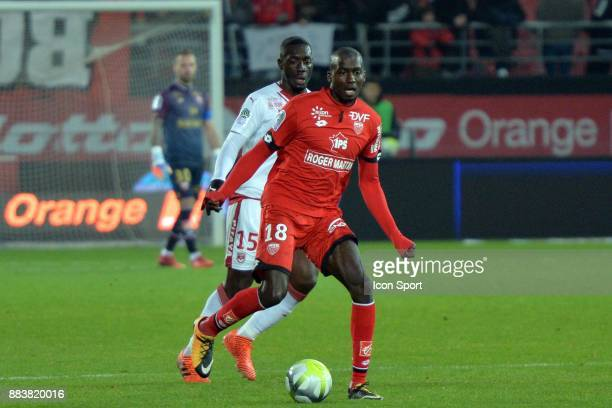 Cedric YAMBERE of DFCO and MENDY Alexandre of Bordeaux during the Ligue 1 match between Dijon FCO and FC Girondins de Bordeaux at Stade Gaston Gerard...