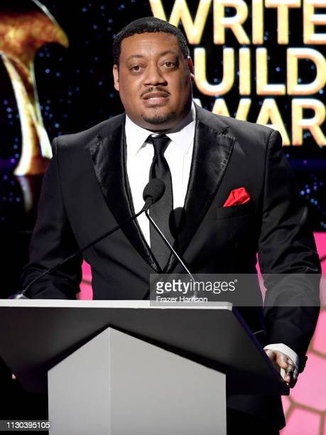 Cedric Yarbrough speaks onstage during the 2019 Writers Guild Awards LA Ceremony at The Beverly Hilton Hotel on February 17 2019 in Beverly Hills...