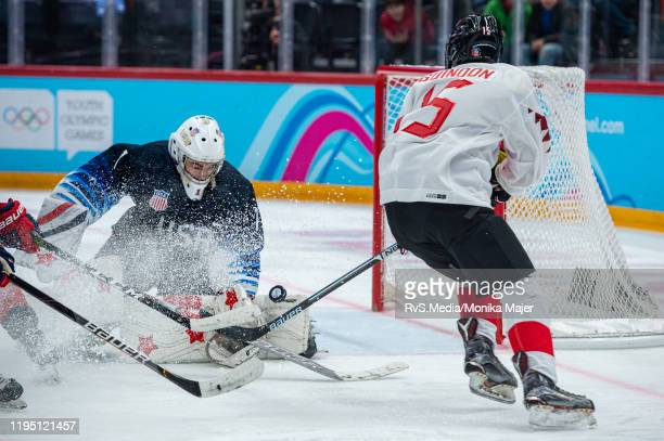 Cedrick Guindon of Canada tries to score against Goalkeeper Dylan Silverstein of United States during Men's 6Team Tournament Semifinals Game between...