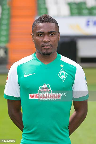 Cedrick Makiadi poses during the official team presentation of Werder Bremen at Weserstadion on July 10 2015 in Bremen Germany