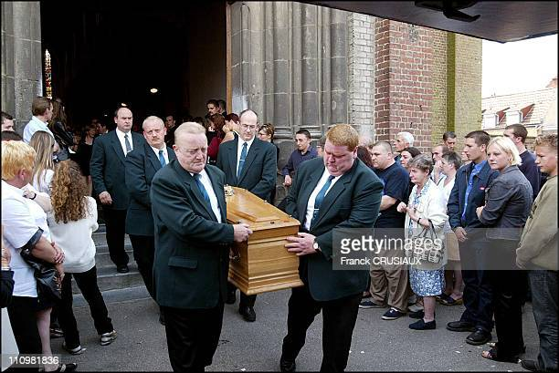 Cedrics funeral at the Church of the Sacred Heart of Annoeuillin in the first row, Cedrics parents Herve and Nadine, his little sister and his...