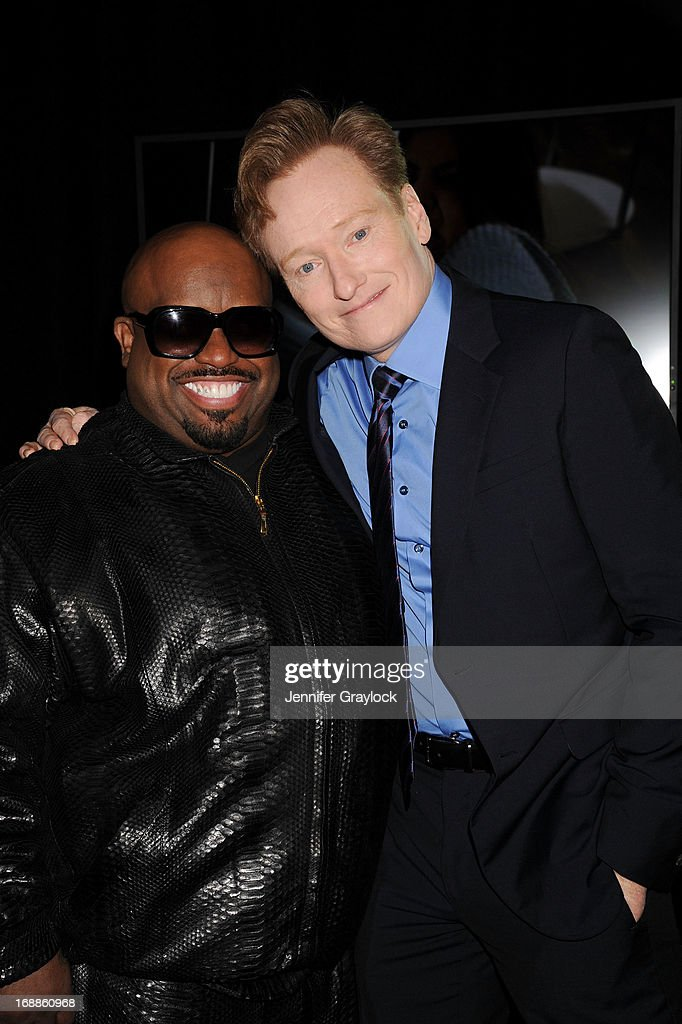 Cee lo Green and Conan O'Brien attend the 2013 TNT/TBS Upfront presentation at Hammerstein Ballroom on May 15, 2013 in New York City.