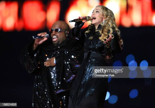 Cee Lo Green and Madonna perform during the Bridgestone Super Bowl XLVI Halftime Show at Lucas Oil Stadium on February 5 2012 in Indianapolis Indiana
