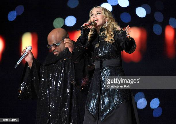 Cee Lo Green and Madonna perform during the Bridgestone Super Bowl XLVI Halftime Show at Lucas Oil Stadium on February 5, 2012 in Indianapolis,...