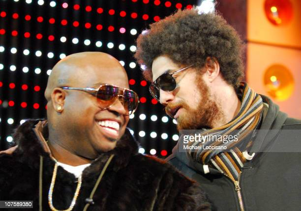 CeeLo and Danger Mouse during Katharine McPhee and Gnarls Barkley Visit MTV's 'TRL' February 5 2007 at MTV Studios Times Square in New York City New...