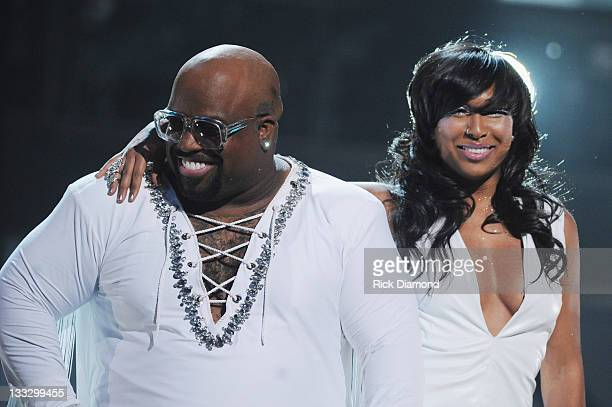 CeeLo Green and Melanie Fiona perform during the 2011 Soul Train Awards at The Fox Theatre on November 17 2011 in Atlanta Georgia