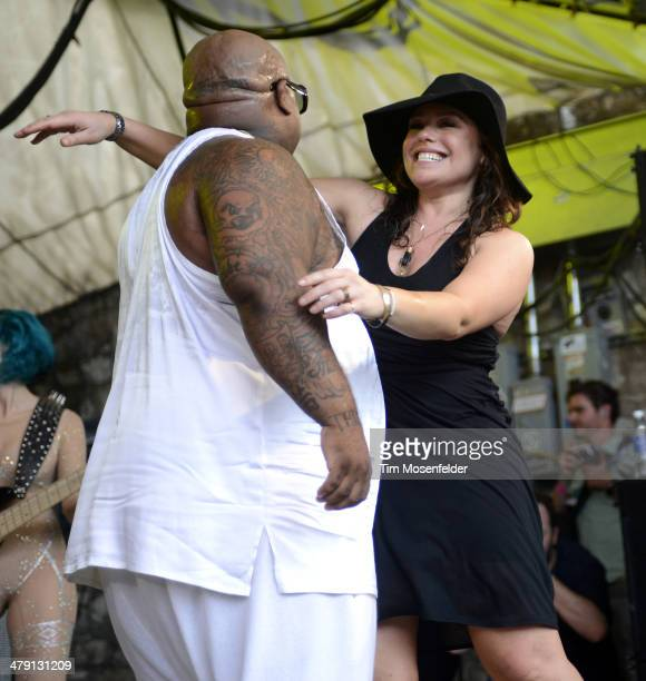 CeeLo Green is greeted be Rachel Ray as he performs at Rachel Ray's Feedback Party at Stubbs BarBQue on March 15 2014 in Austin Texas