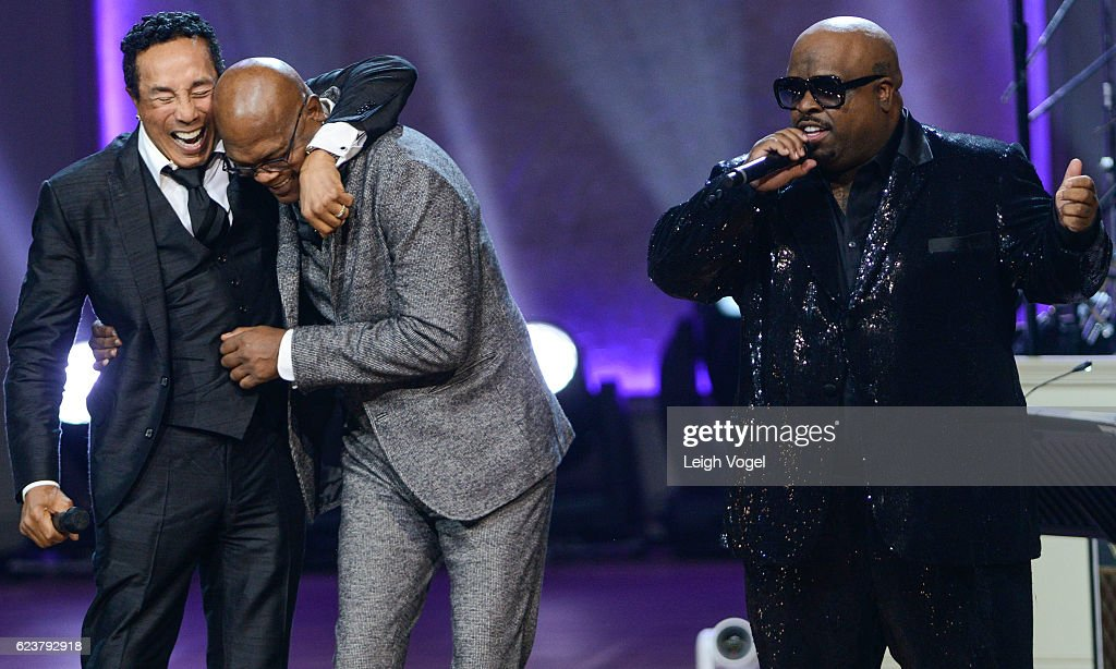 CeeLo Green performs as Smokey Robinson and Samuel L. Jackson stand on stage during the 2016 Gershwin Prize For Popular Song Concert honoring Smokey Robinson at DAR Constitution Hall on November 16, 2016 in Washington, DC.