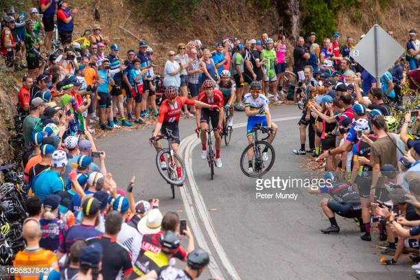 Cees Bol of Netherlands and Team Sunweb and Neil Van der Ploeg of Victoria and UniSA-Australia doing dual wheelies entertaining with the large crowd...