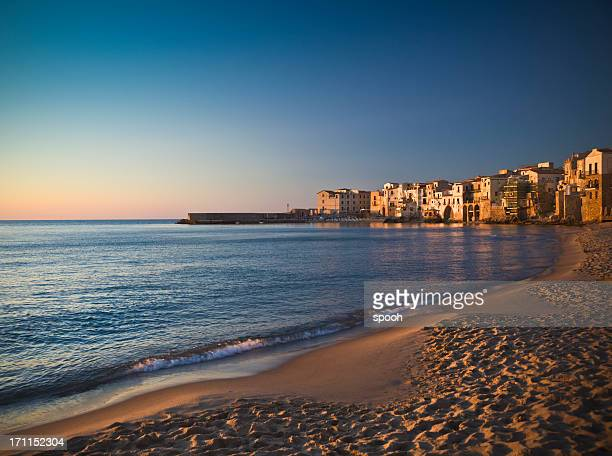 cefalu at dusk - palermo sicily stock photos and pictures