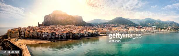cefalu beach - sicily stock pictures, royalty-free photos & images