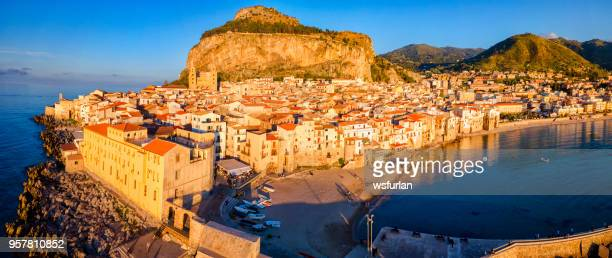 cefalu beach - palermo sicily stock photos and pictures
