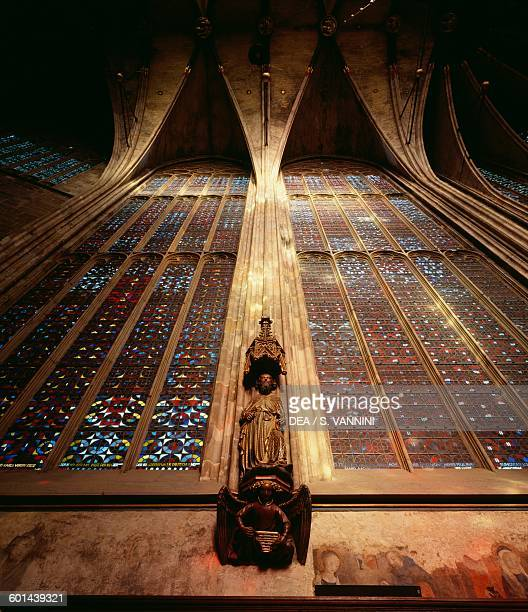 Ceiling and stained glass Aachen Cathedral North RhinelandWestphalia Germany