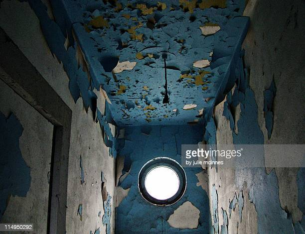 Ceiling and walls in hallway of derelict house