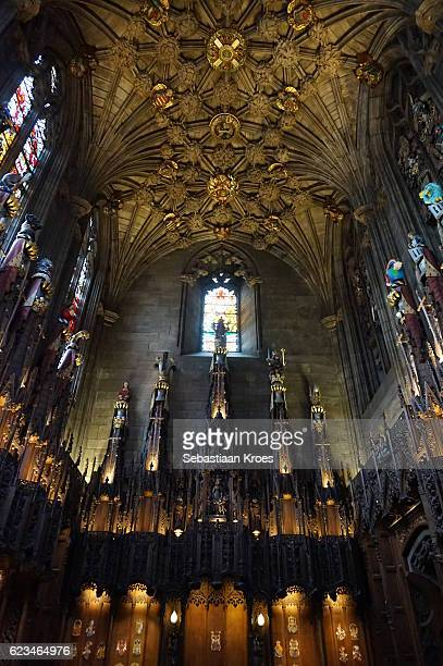 ceiling and walls of the thistle chapel, edinburgh, united kingdom - st. giles cathedral stock pictures, royalty-free photos & images