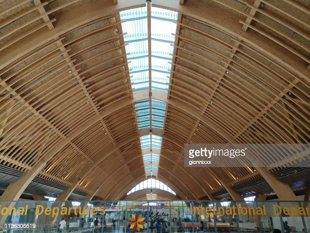 ceiling at mactan–cebu international airport, philippines - cebu province stock pictures, royalty-free photos & images