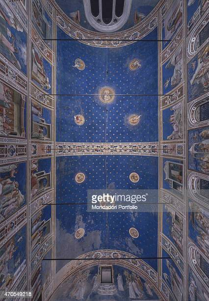 Ceiling by Giotto 13031305 14th Century fresco Italy Veneto Padua Scrovegni Chapel After restoration picture Whole artwork view Overall view of the...