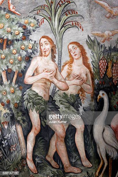 Ceiling fresco in Maria Assunta church: Adam and Eve chased from Eden