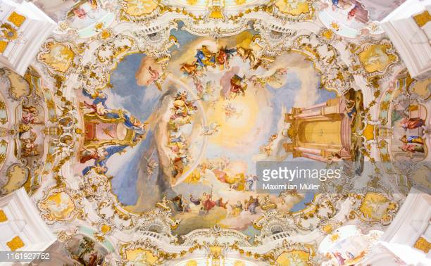 ceiling fresco, pilgrimage church of wies (wieskirche), steingaden, germany - fresco stock pictures, royalty-free photos & images