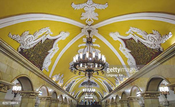 ceiling of komsomolskaya metro station in moscow, russia - moscow metro stock pictures, royalty-free photos & images