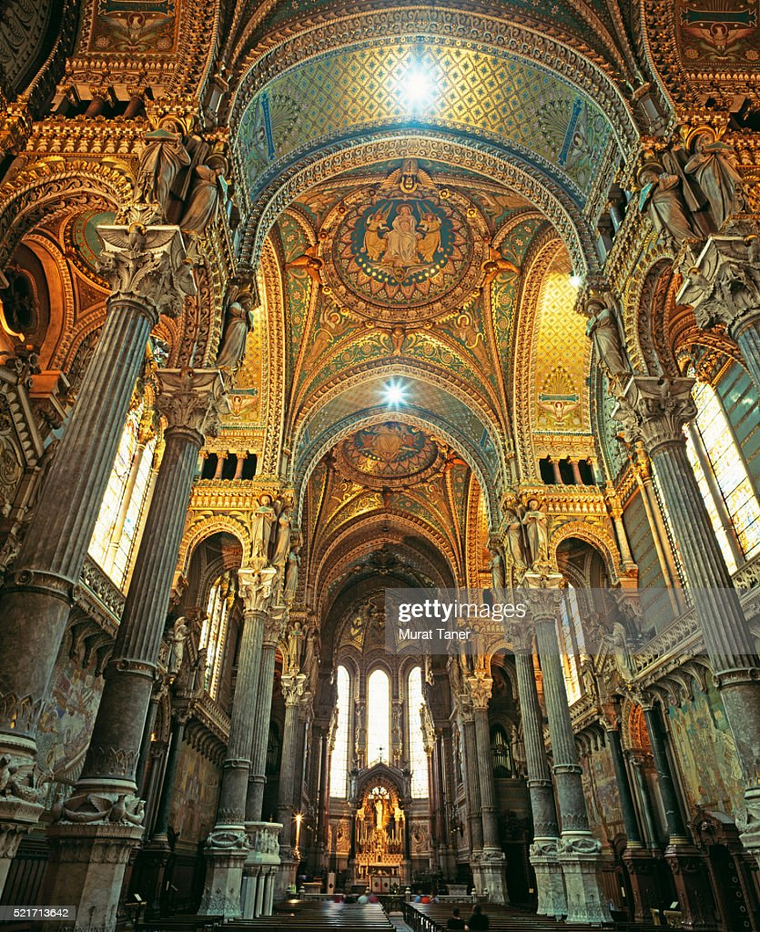 Ceiling of the Basilica of Notre Dame de Fourviere in Lyon : ストックフォト