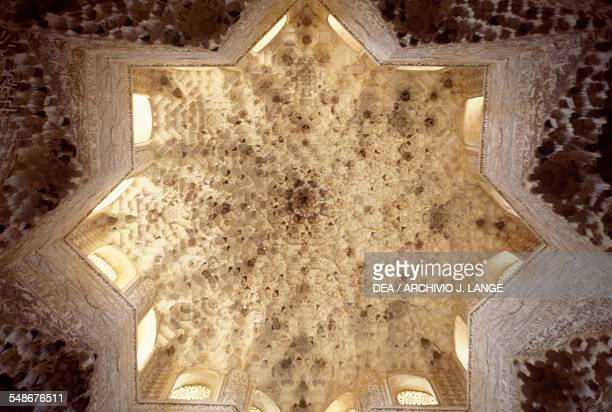 Ceiling of the Hall of Abencerrages Hall of the Alhambra Granada Andalucia Spain 14th century
